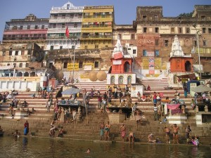 Bathing by the river Ganges
